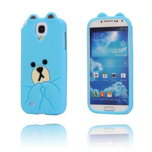 Cute Bear (Sininen) Samsung Galaxy S4 Suojakuori