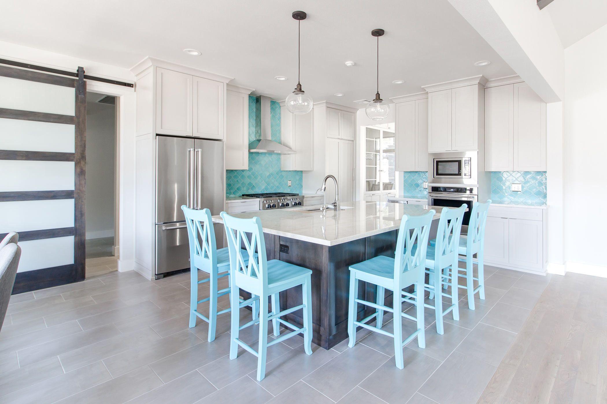 Home Builder | Tulsa OK - Kitchen with Bora Bora blue handcrafted ...