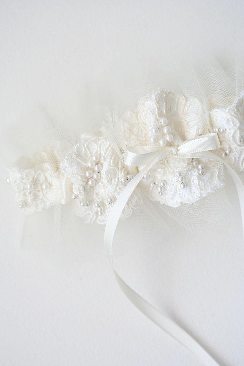 Custom wedding garter using momus wedding dress sleeve with lace