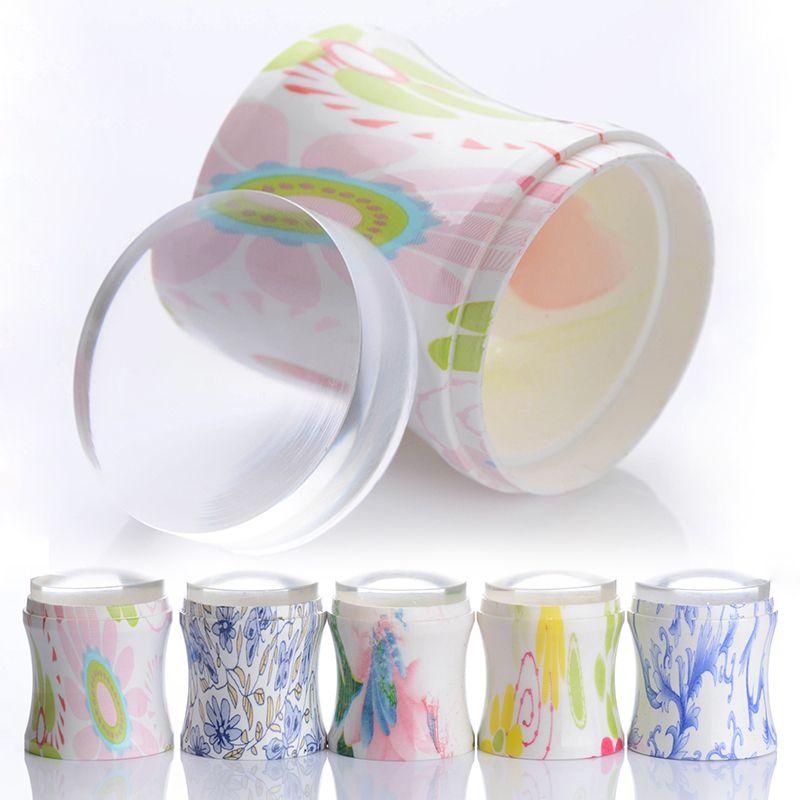 3 Stks/set 3.8 cm XL Clear Jelly Nail Art Stamper Siliconen Hoofd Stempelen Bloem Handvat & 2 Schrapers