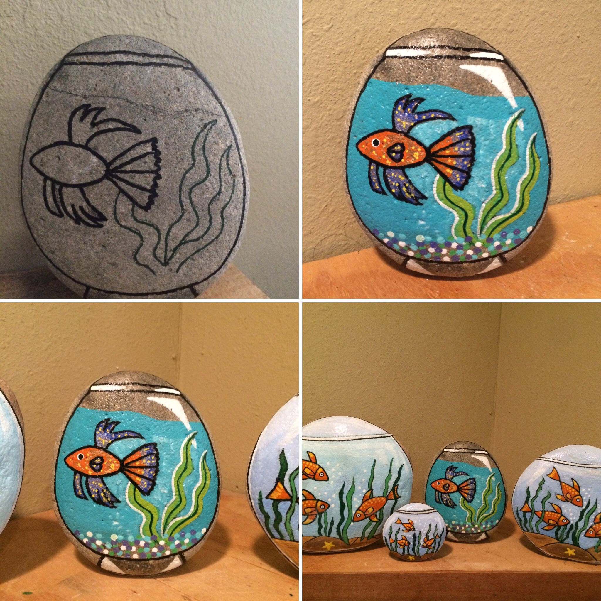 Fish bowl painted rocks no need to feed or clean