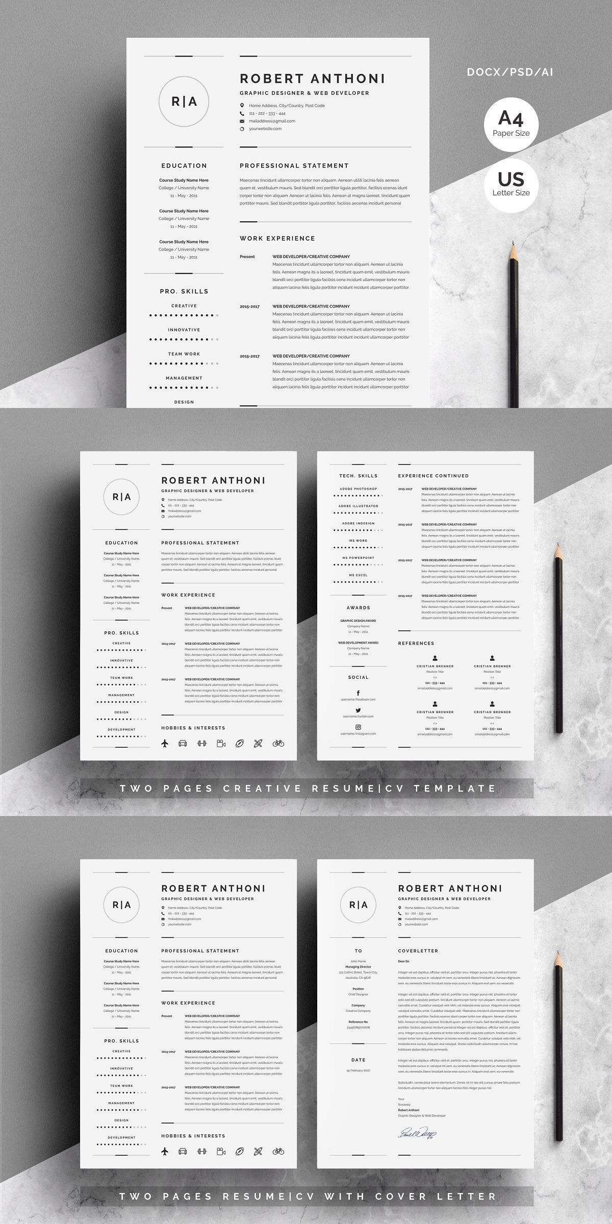 3 pages clean resumecv template cv template resume cv