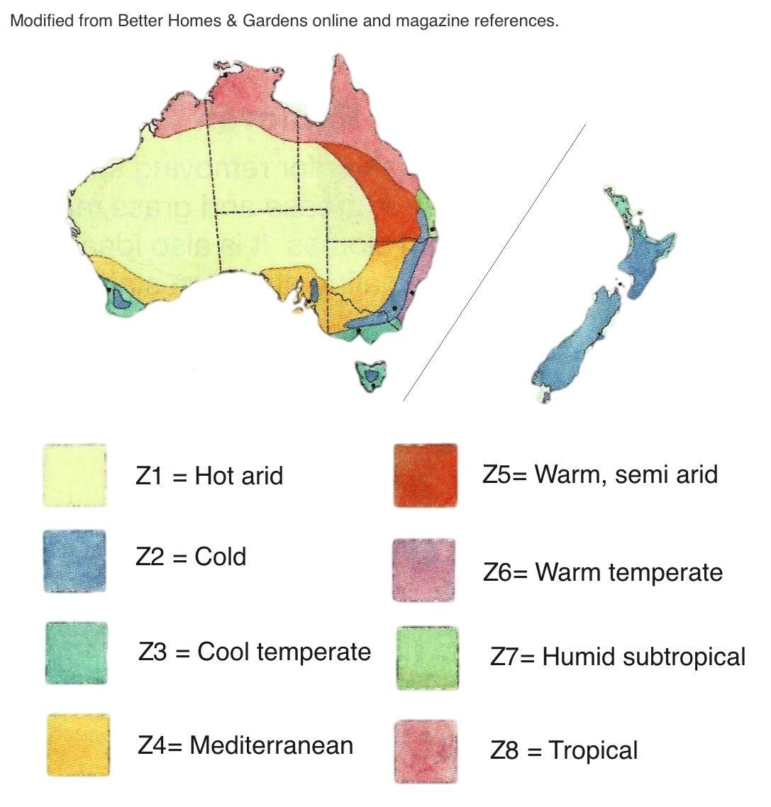 australian gardening climate zones - Google Search