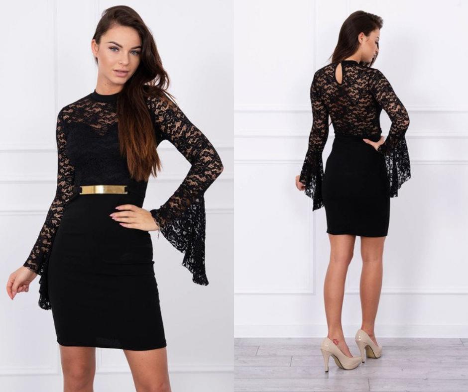 Čierne čipkované šaty na rôzne párty a večierky. Šaty sú krásne strihané a  čipka dodáva 030dd951e8e