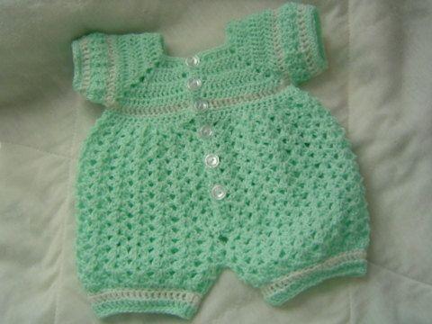 0005-B. Baby Boy Crochet Bubble Suit Reversible Romper ...