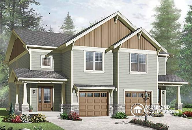 Builder Home Plan Mountain Design Craftsman Duplex Design