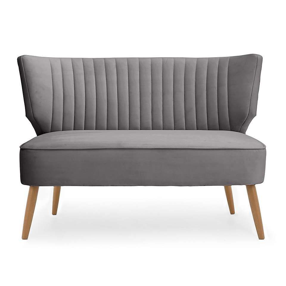 Eva 2 Seater Cocktail Sofa Light Grey Elegant Sofa Seater Upholstered Furniture