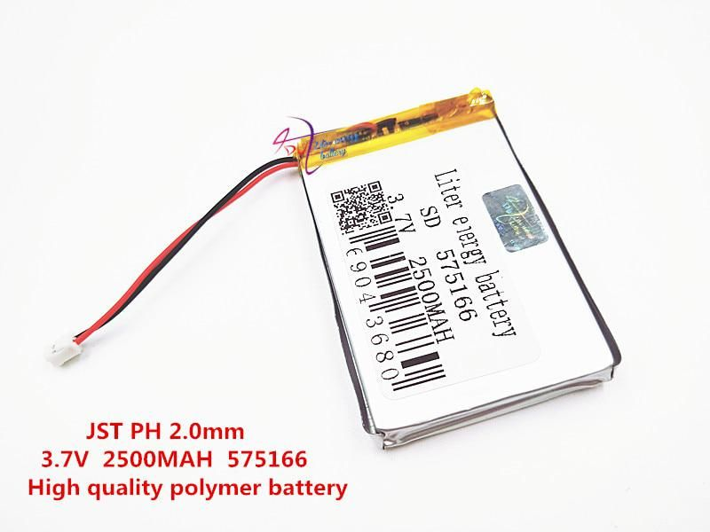 Jst Ph 2 0mm 3 7v 2500mah 575166 Polymer Lithium Ion Li Ion Battery For Smart Watch Gps Mp3 Mp4 Cell Phone Speaker Cell Phone Speakers Polymer Li Ion Battery