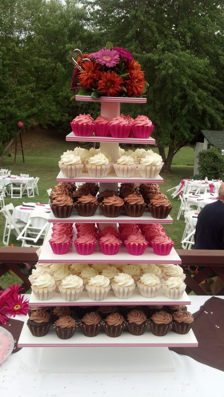7 tier square custom made cupcake stand with 12 thick