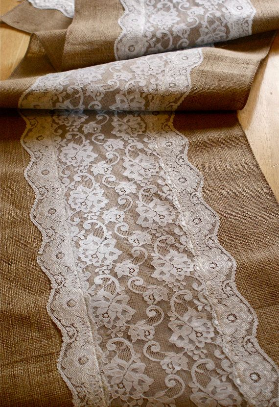 Custom made wedding table runner , lace and burlap | Hessian, Lace ...
