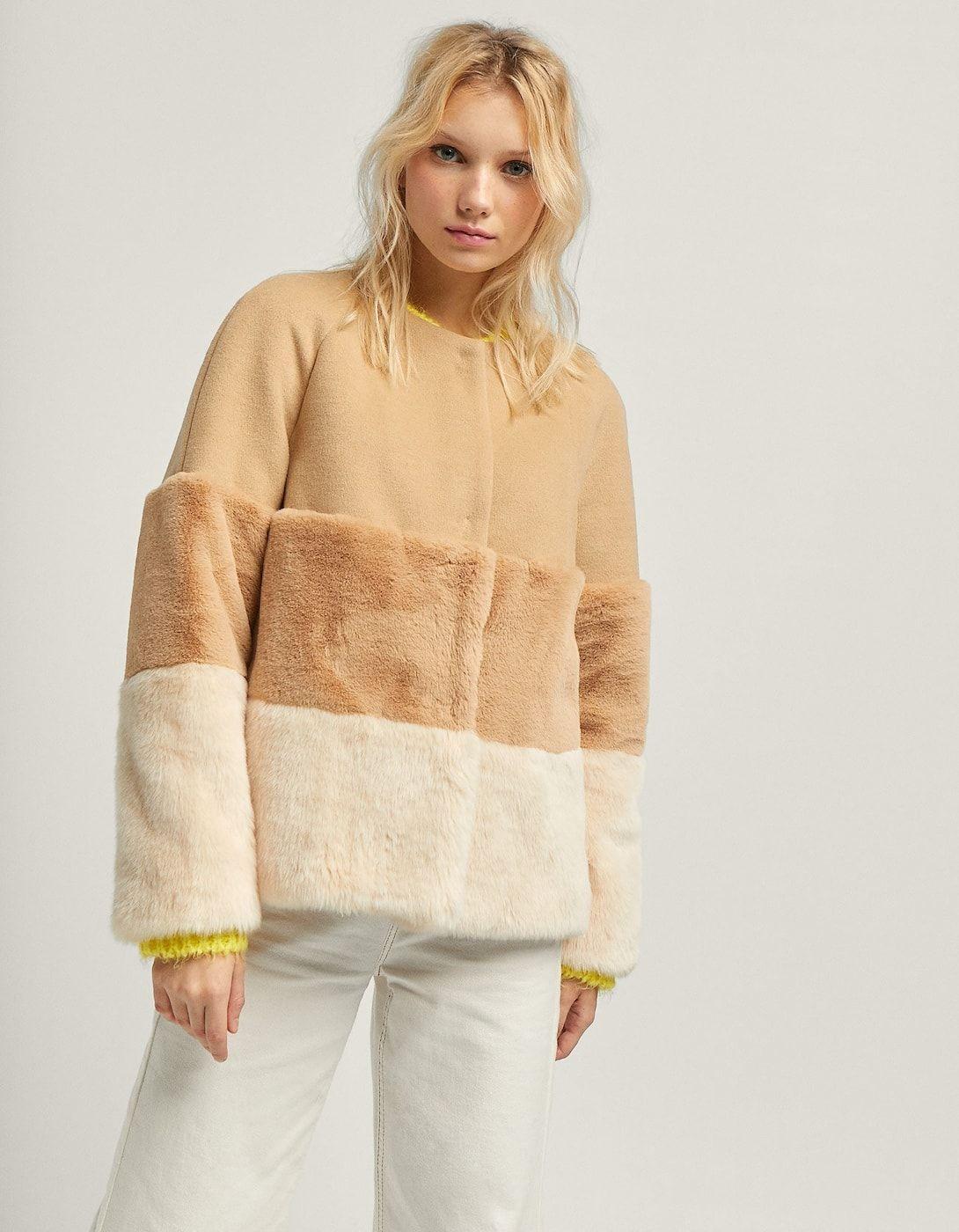 Detalles de ZARA KNIT Chaqueta de lana crema beige estampado de pata de gallo look casual