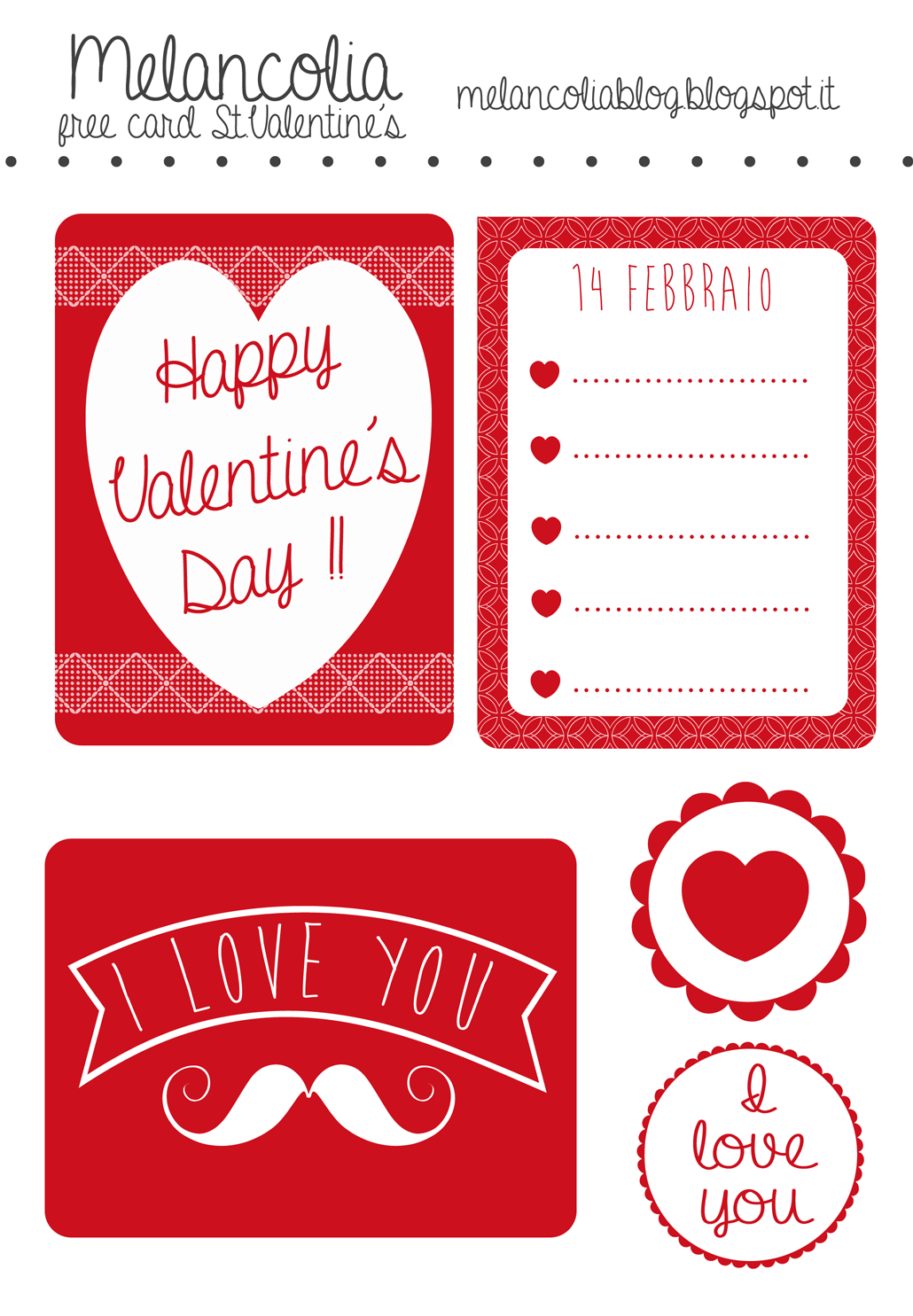 Free Printable Set 2 Valentine Journal Cards Filler Cards And Labels For Project Life