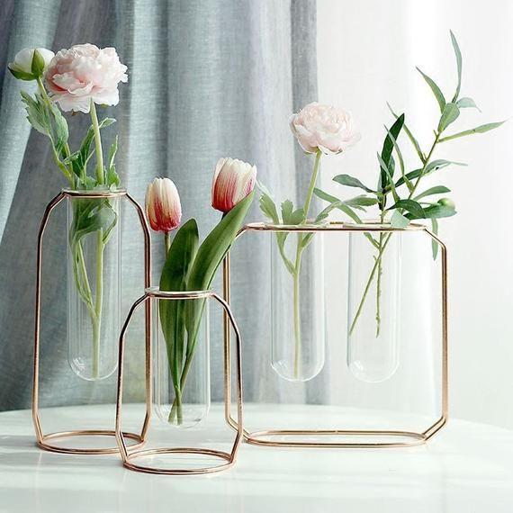 8dbf2435c0 Rose Gold or Gold Individual Flower Vase - Modern Frame Wedding Decor