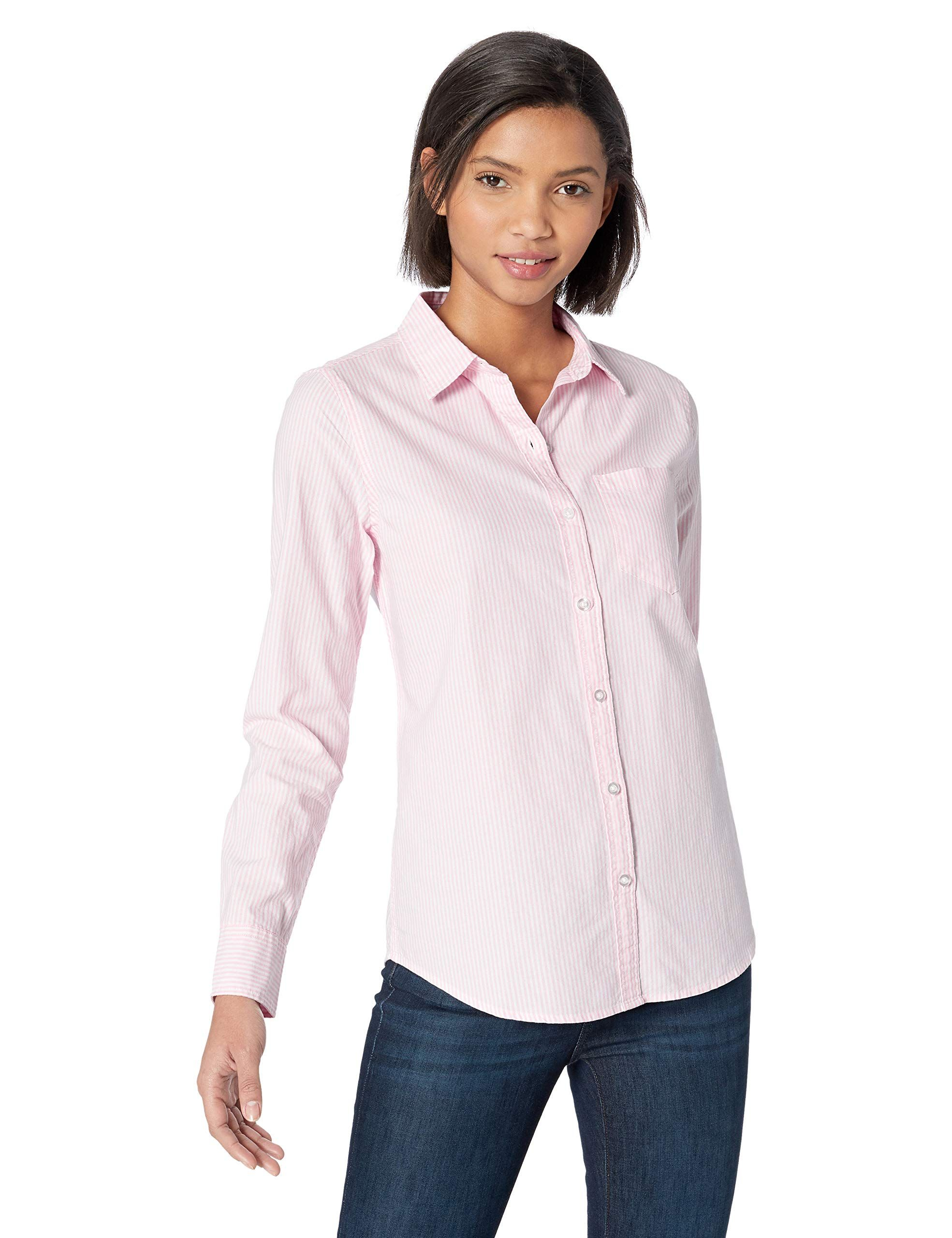 b28d049ad4 Amazon Essentials Women s Long-Sleeve Classic-Fit Patterned Oxford Shirt