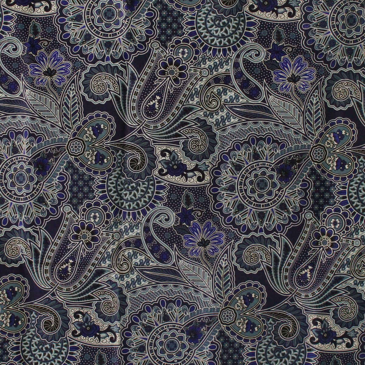 Dark Blue Flowers Thai Traditional Print ,Thai Batik