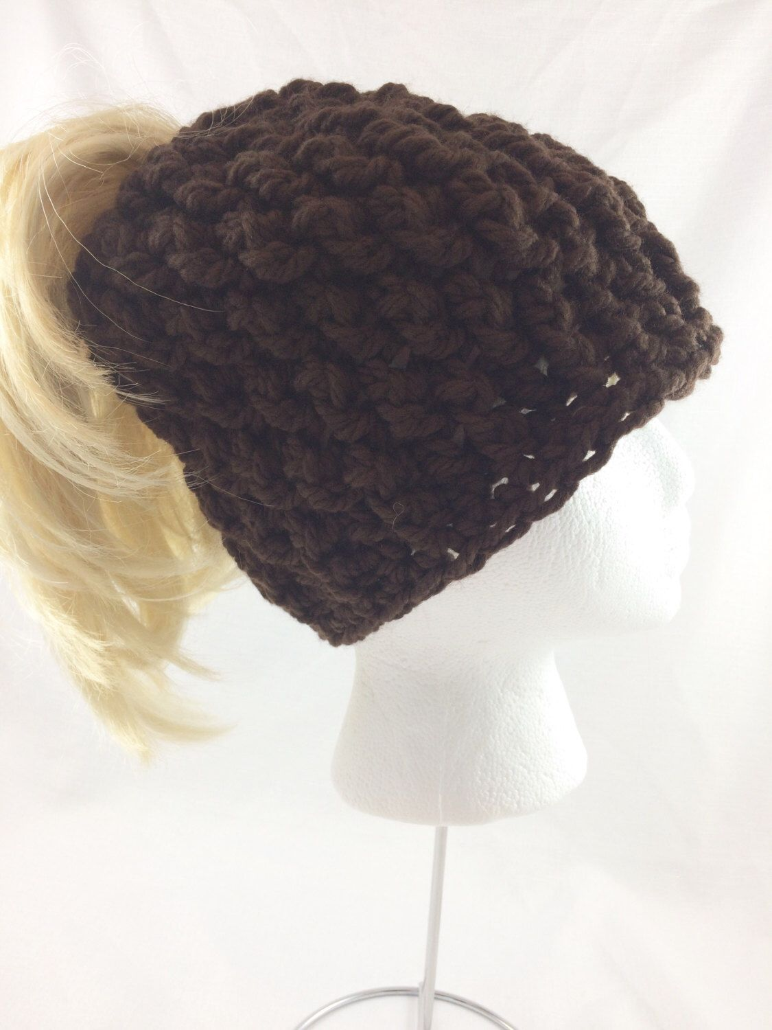 1872029ae3b24 Gifts For Women · Ponytail · My Etsy Shop · Chocolate brown ponytail hat  https   www.etsy.com ca