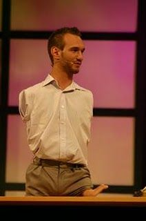 Nick Vujicic: a man with no limbs who teaches people how to get up  Nick Vujicic was born in Melbourne, Australia with the rare Tetra-amelia disorder: limbless, missing both arms at shoulder level, and having one small foot with two toes protruding from his left thigh. Despite the absence of limbs, he is doing surf and swimming, and playing golf and soccer.