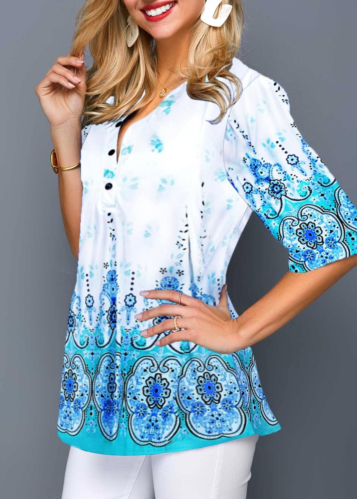 Women/'s 3//4 Sleeve Blue Multi Color Print Boho T Shirt Tribal Casual Tops Blouse