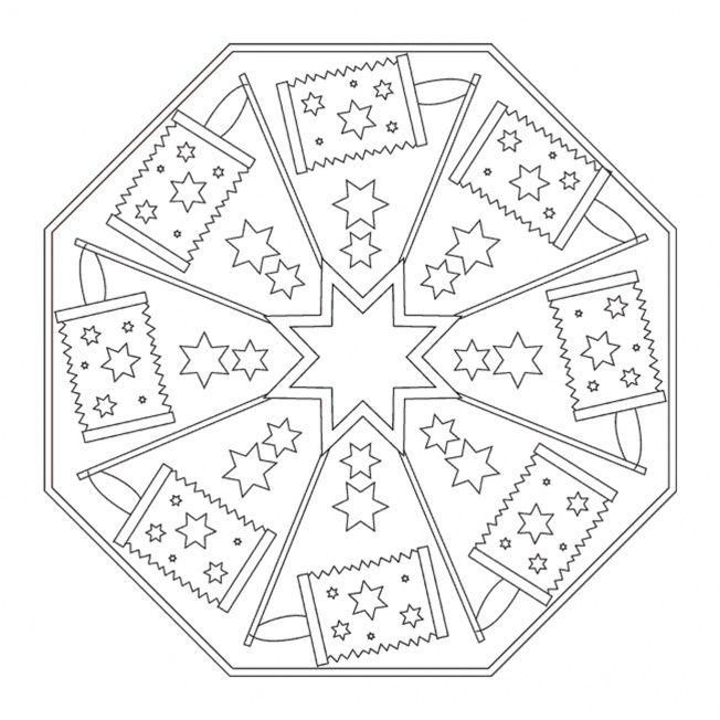 Lantern Festival Mandala Mandala Coloring pages Free