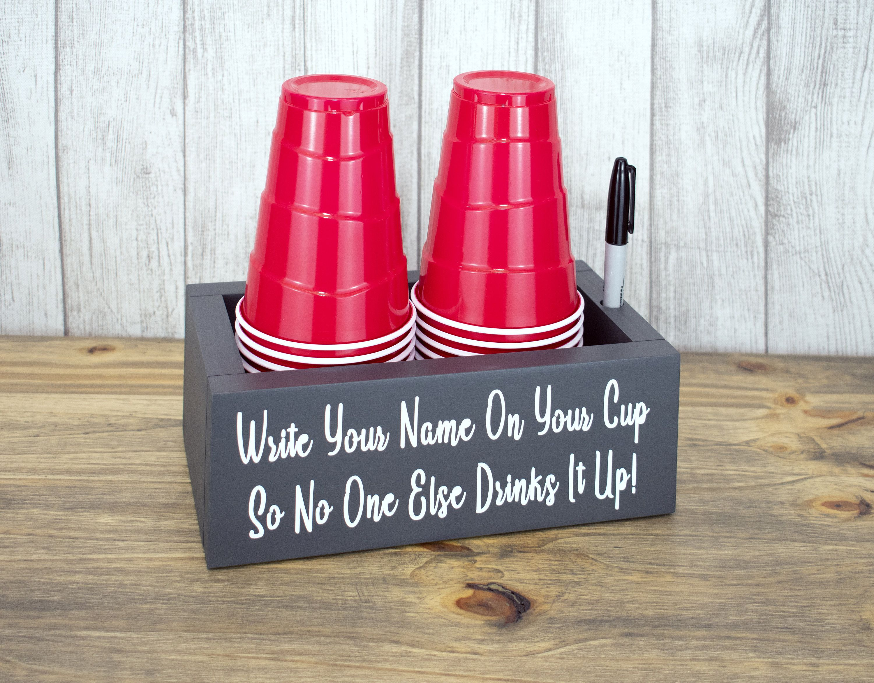 Double Solo Cup Holder With Marker Gray Wood Cup Holder Etsy Cup Holder Solo Cup Party Cups