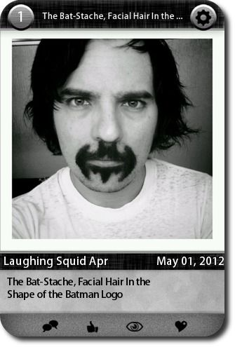 The Bat-Stache, Facial Hair In the Shape of the Batman Logo  source: http://laughingsquid.com/the-bat-stache-facial-hair-in-the-shape-of-the-batman-logo/