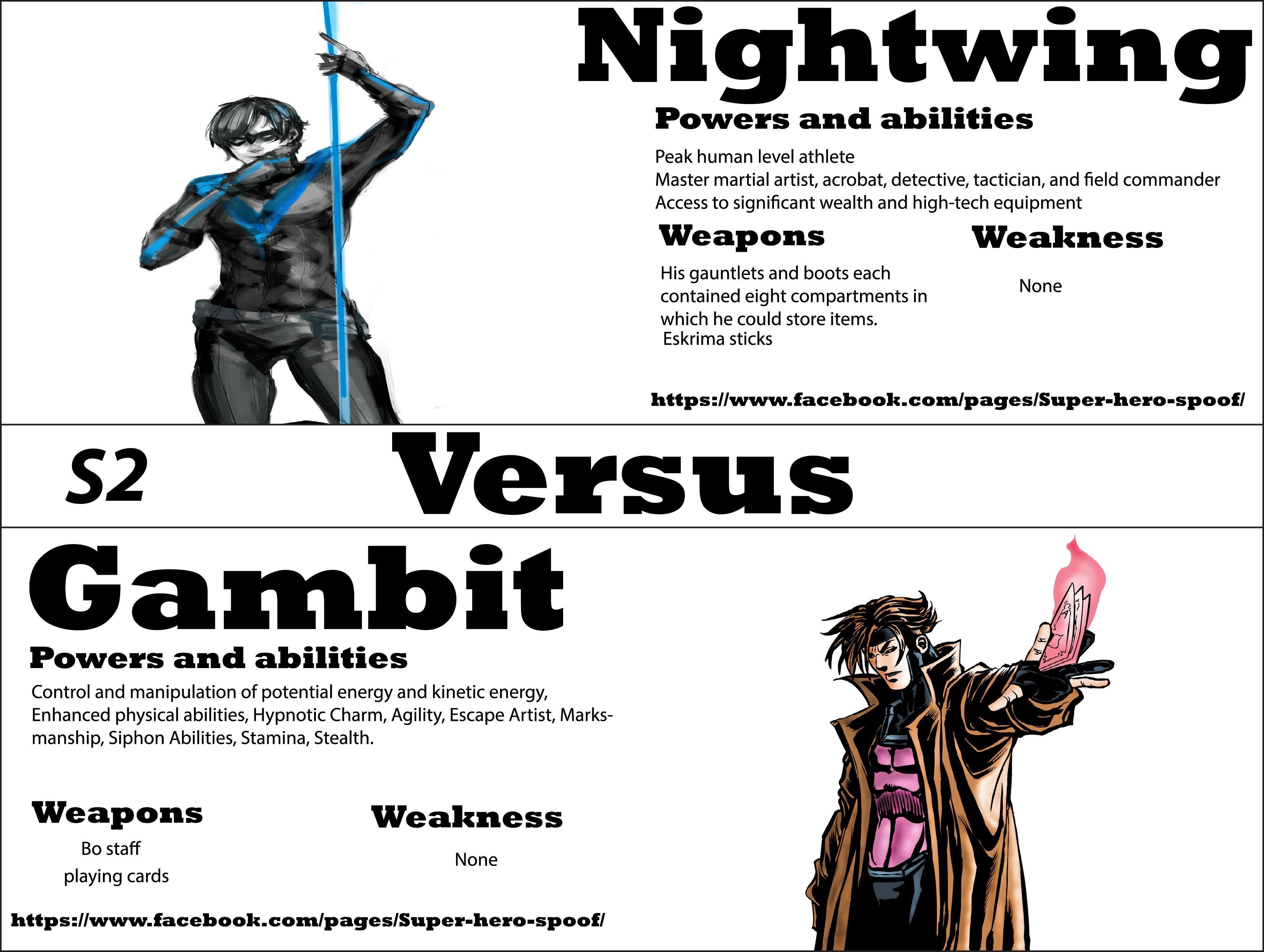 firestorm vs holocast who will win and why powers abilities nightwing vs gambit who will win and why powers abilities weaknesses
