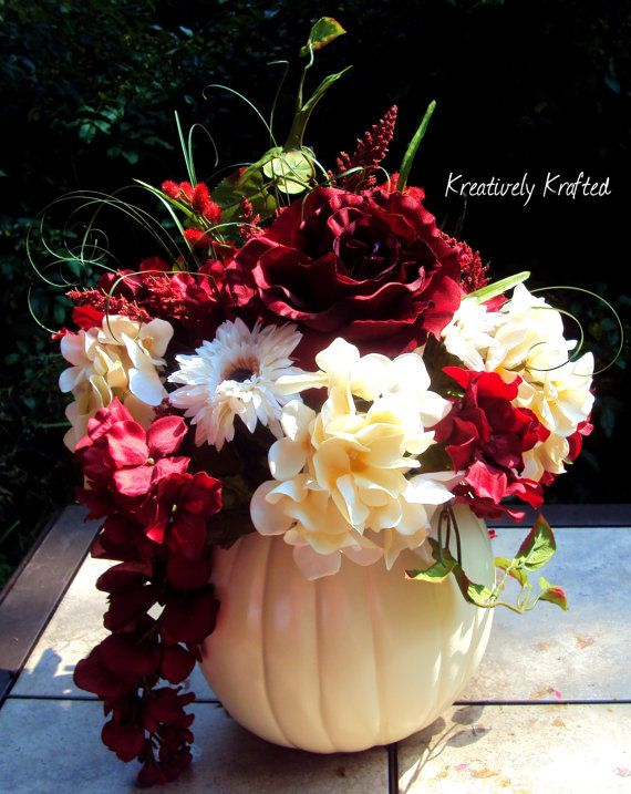Red Fall Centerpiece : White cream red floral silk flowers pumpkin table