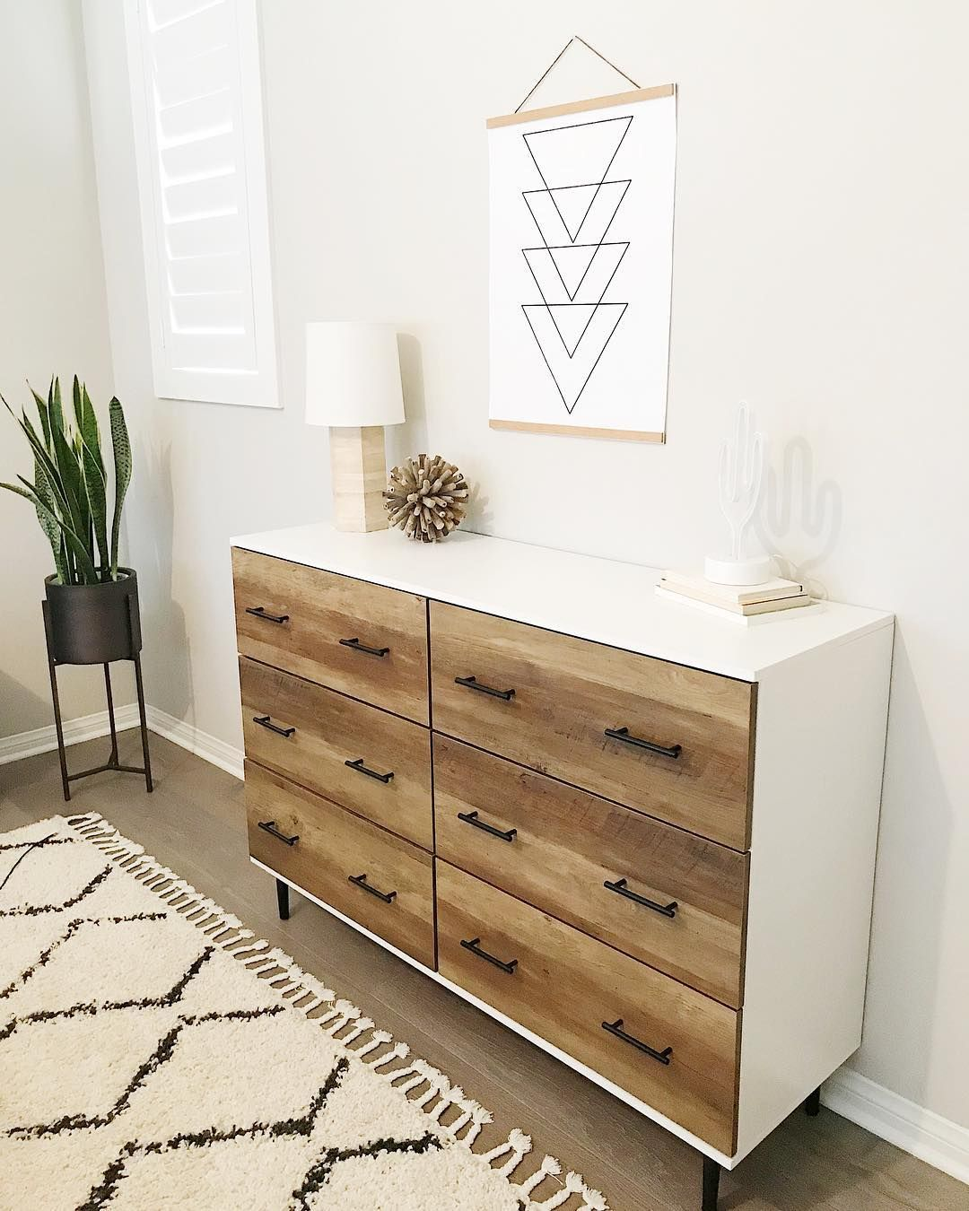 Audrey Crisp On Instagram We Needed More Storage In Our Bedroom So I Got This Cute Modern Dresser Fr Modern Bedroom Dressers Dresser Decor Dresser Top Decor