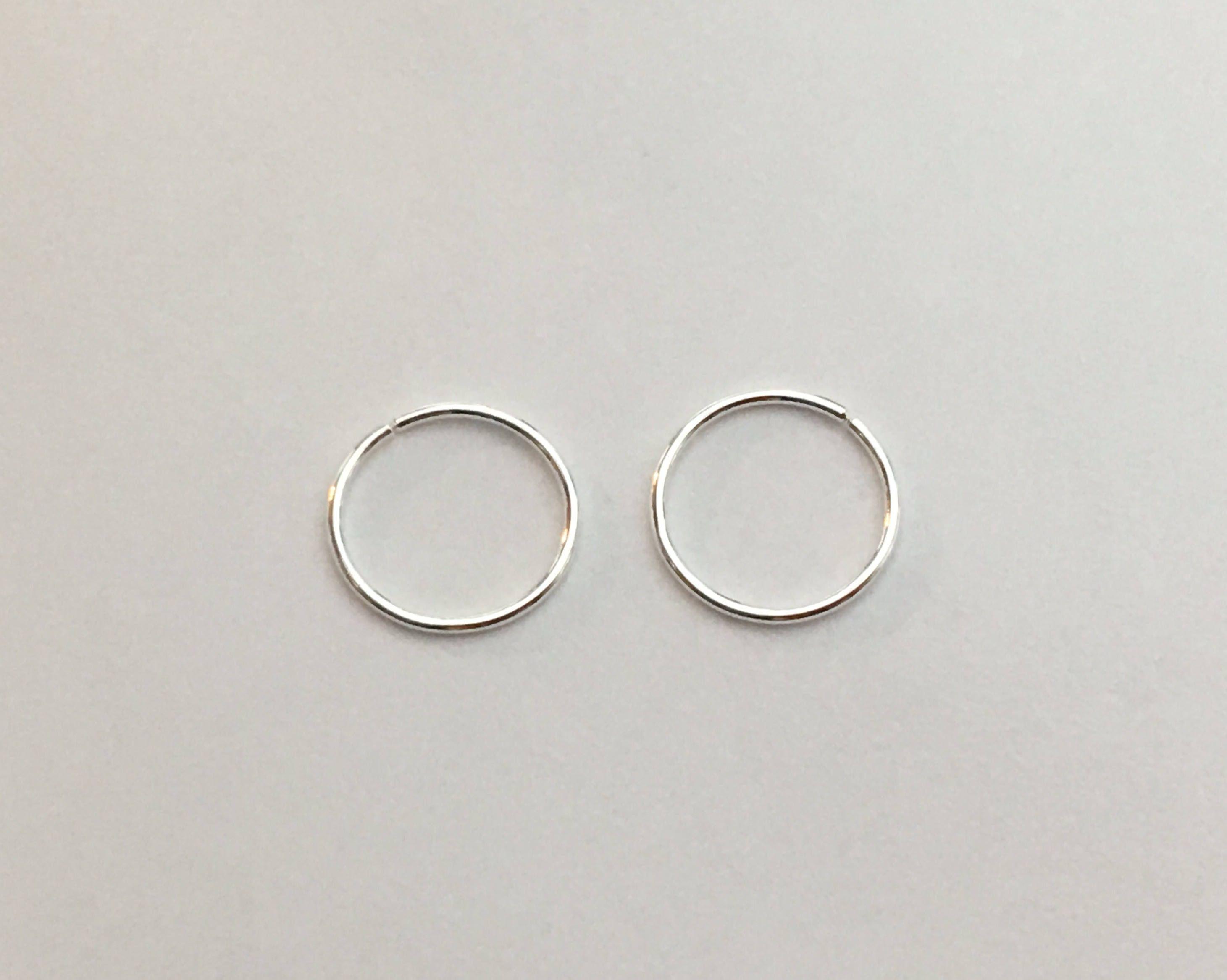 Set Of 2 Sterling Silver Snug Hoop Earrings Dainty Rook Cartilage Tragu Hex Nose Ring 24 Gauge Body Piercing Jewelry By Chikojewel On Etsy