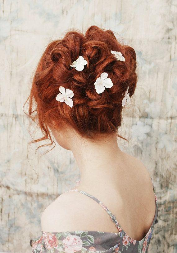 Bridal Flower Clips Floral Hair Pins Velvet Floral Hair Pins Bridal Flower Clips Hair Pins
