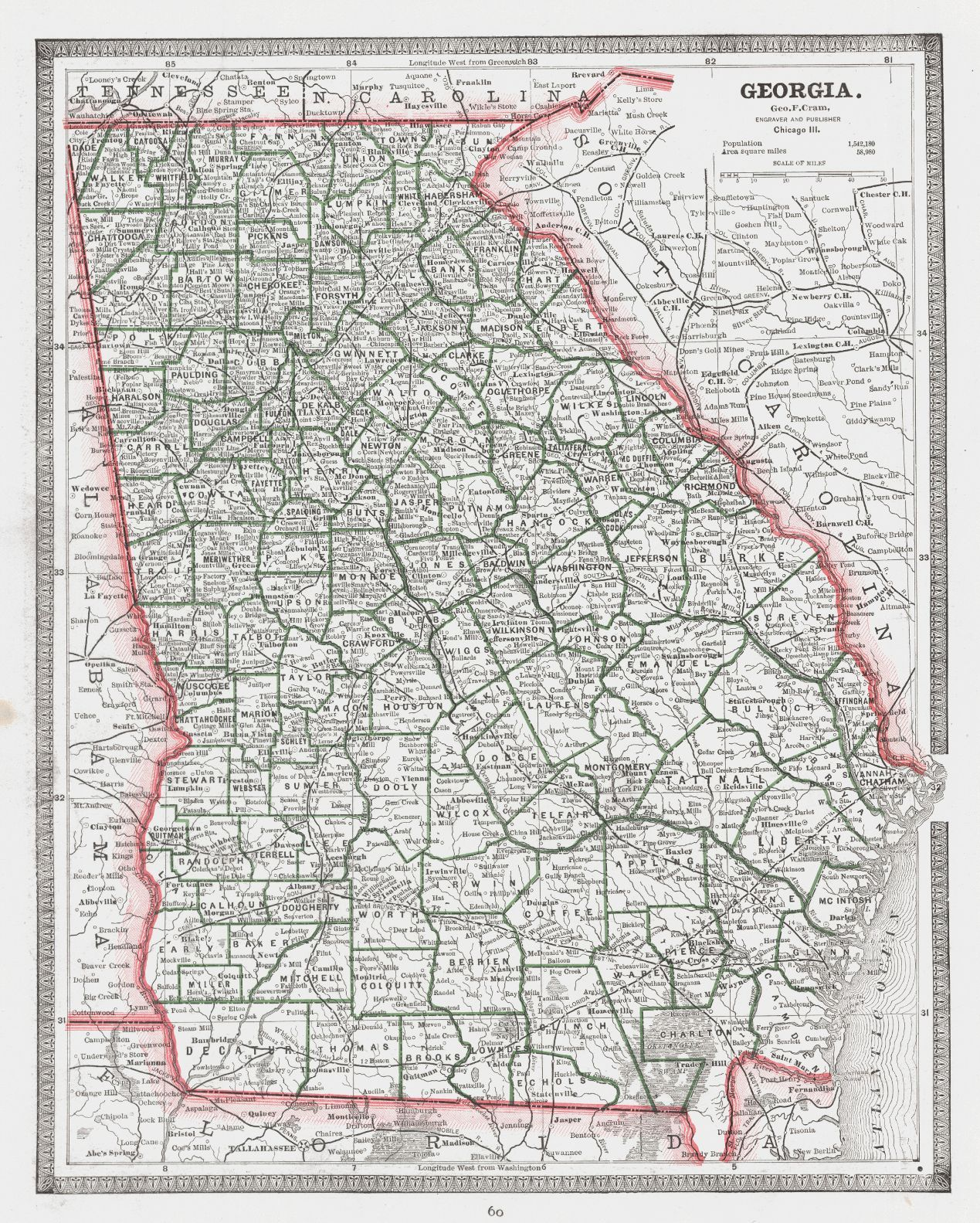 Map Antique Georgia George F Cram Detailed Map Showing - Georgia map of counties