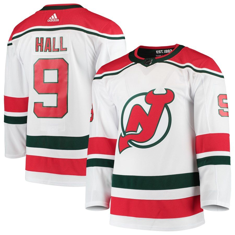0a690d62 Men's New Jersey Devils Taylor Hall adidas White Alternate Authentic Player  Jersey