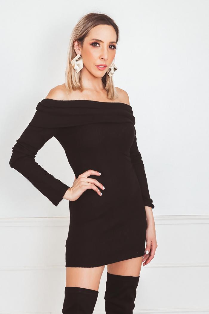 9d1272304996 Off-Shoulder Mini Dress with Overlap - Black