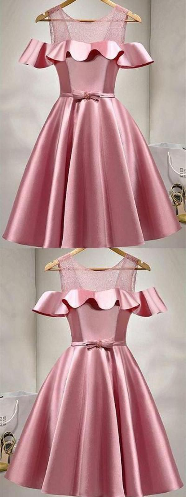 Homecoming dresses prom dresses pink prom dresses lace short