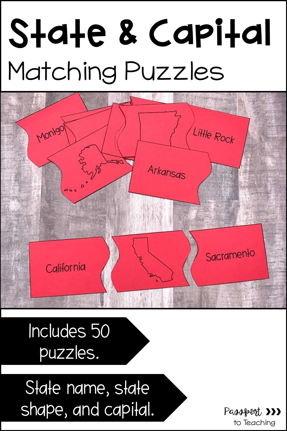 State And Capital Matching Puzzles