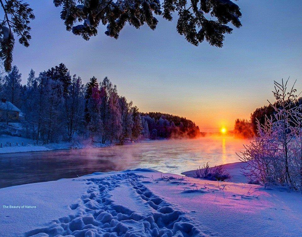 Gregor Zupan tsū Winter sunset, Winter scenery, Sunset