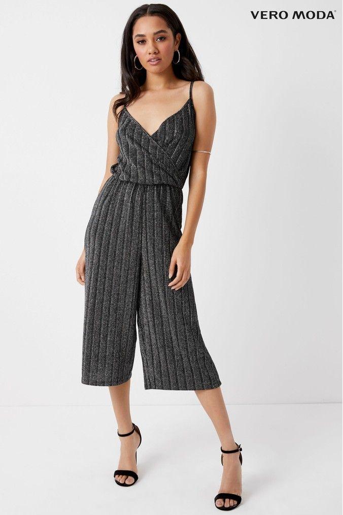 f87e625990e3 Womens Vero Moda Petite Stripe Singlet Jumpsuit - Black