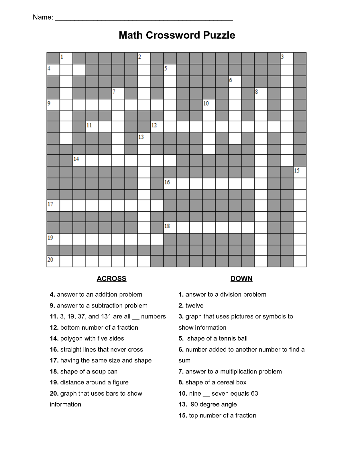 Math Puzzles Printable for Learning Activity Shelter – Math Crossword Puzzle Worksheets