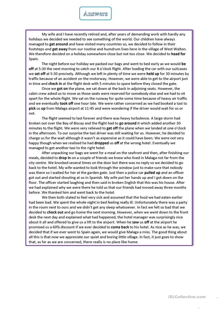 Phrasal Verbs About Travelling Worksheet Free Esl Printable Worksheets Made By Teachers Ielts Writing English Homework Teaching Jobs [ 1079 x 763 Pixel ]