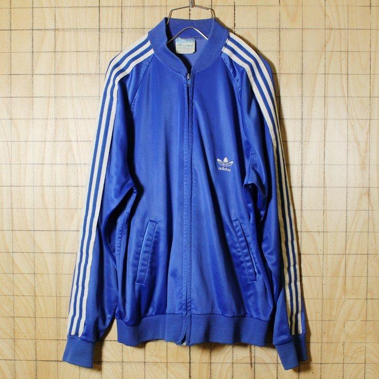 Adidas 80susa製古着 ブルー Atp Keyrolanトップジャージ メンズl
