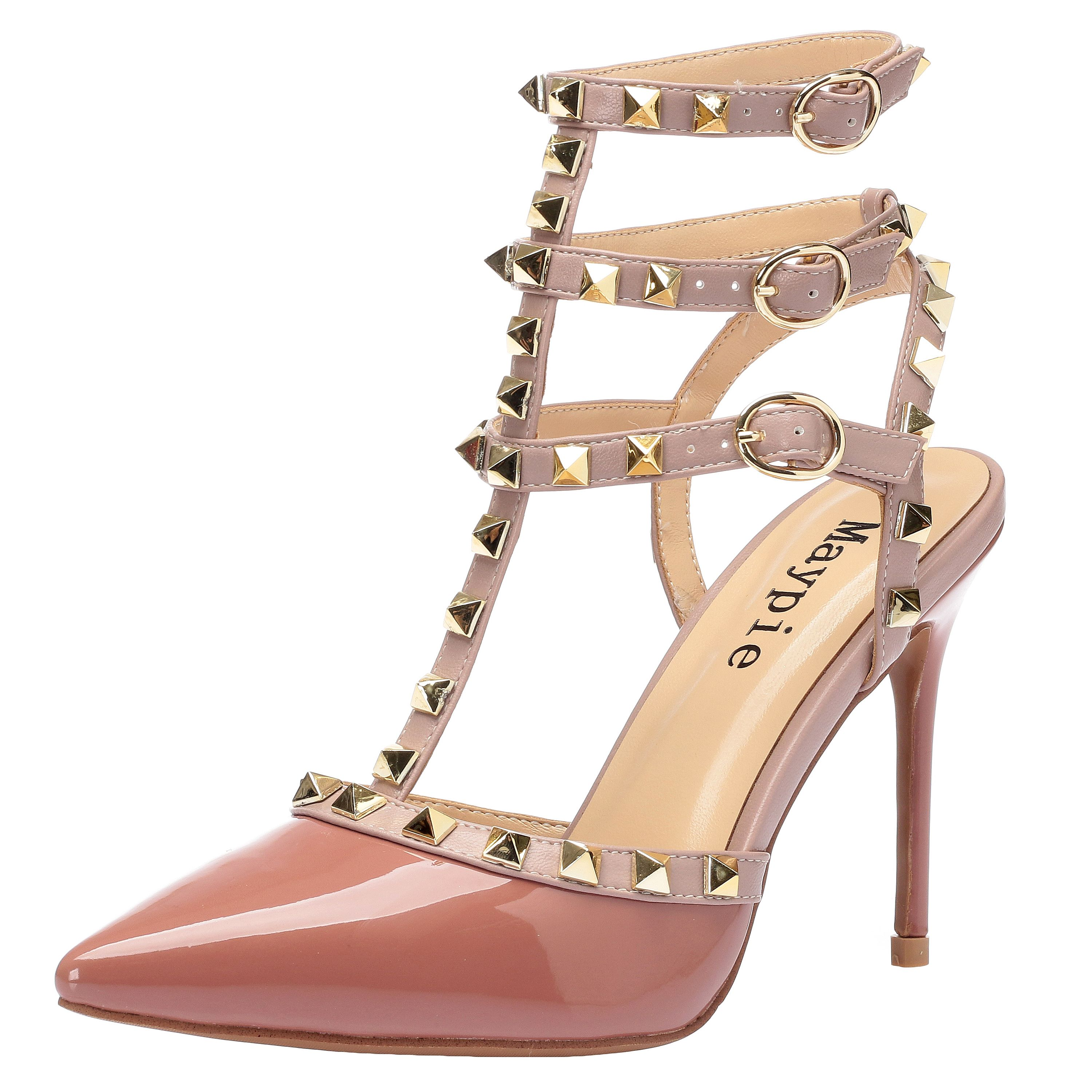 a9adcbb9c7 MAYPIE Women's Sexy Pointed Closed Toe Rivets Studded Ankle T-Strap 3.94  Inches High Heel Stiletto Pumps