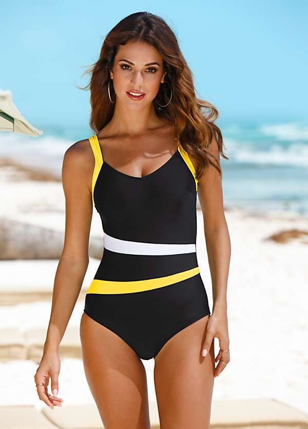 Black & Yellow Piped Swimsuit by bpc selection | Vintage one