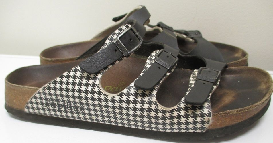 Click photo to see these in our eBay store!  Papillio Birkenstock Florida 250 Size 39 L8 M6 3 Strap Black White Houndstooth #Birkenstock #SlidesSandals #sandals #Papillio #houndstooth #black #white #plaid