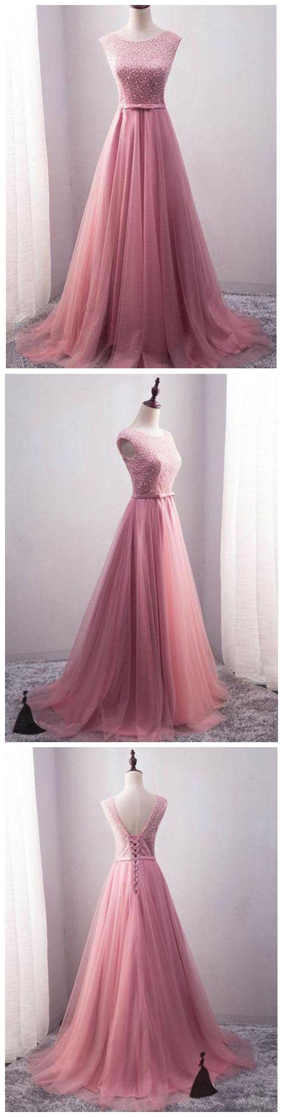 aline scoop prom dresses pink long prom dresses evening