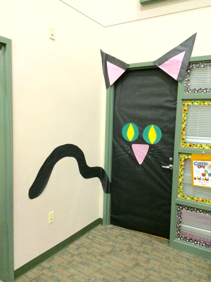 Spooky Black Cat Door For Halloween Door Decorations Cat Door Nurse Bulletin Board