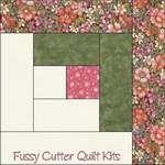 Flower Garden Floral Fabric Easy Pre-Cut Log Cabin Quilt Kit