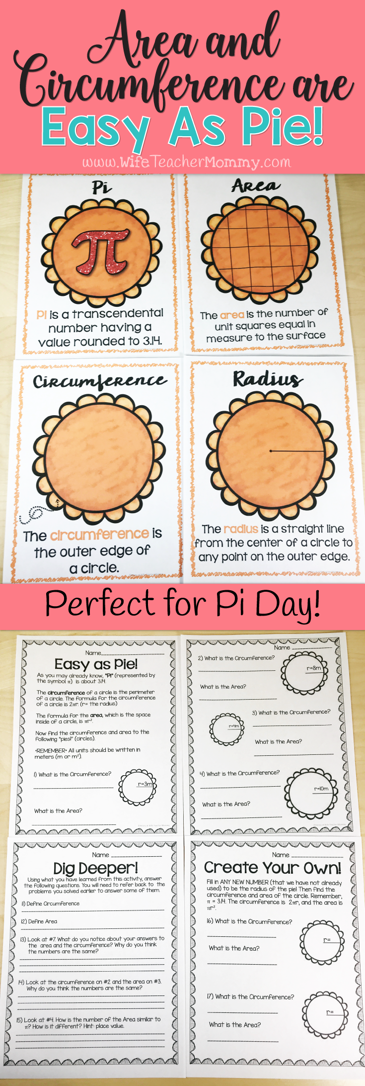 Area And Circumference Worksheets Pi Day Worksheets Thanksgiving Worksheets These Workshee Teaching Thanksgiving Thanksgiving Worksheets Teaching Elementary [ 2184 x 735 Pixel ]
