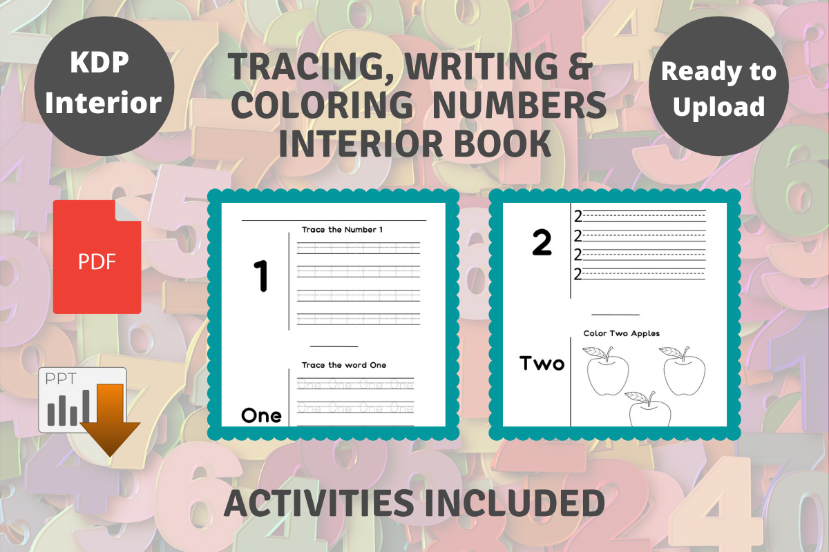 Kdp Tracing Writing Coloring Numbers Graphic By Proobeyda Creative Fabrica Kids Word Search Book Activities Tracing