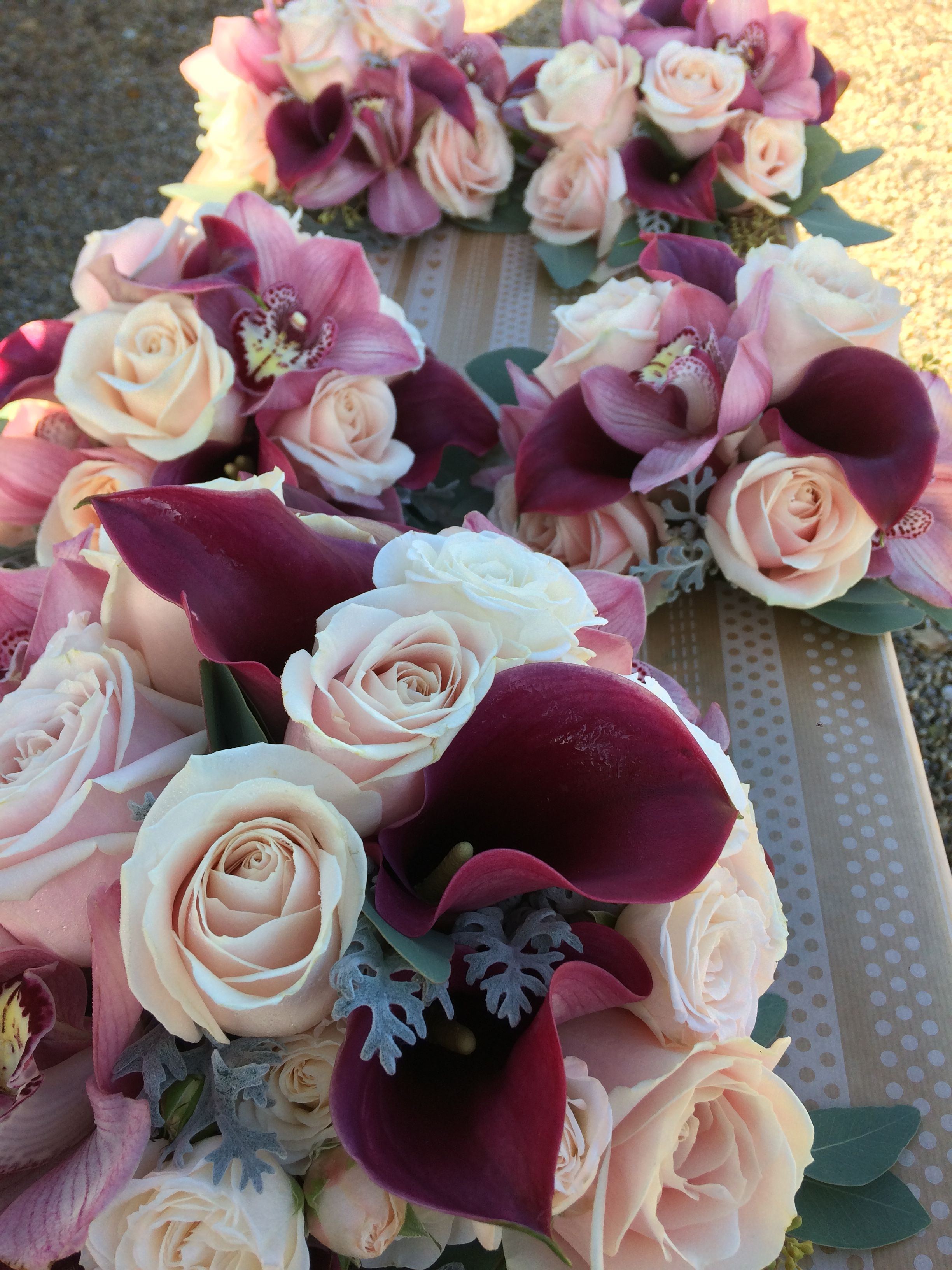 Wedding Bouquet Of Vintage Pink Roses Deep Red Calla Lilies And