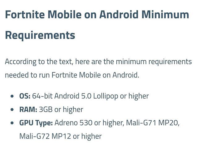 speculated minimum requirements for fortnite to run on android fortnite fortniteandroid fortniteandroidrequirements fortnitebr fortnitebattleroyale - minimum spec for fortnite mobile